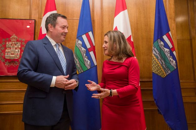 Deputy Prime Minister Chrystia Freeland and Alberta Premier Jason Kenney are photographed ahead of their...