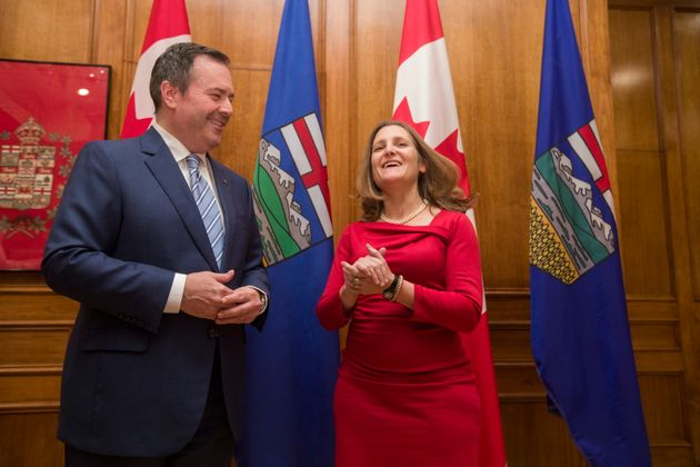 Deputy Prime Minister Chrystia Freeland and Alberta Premier Jason Kenney take part in a photo opportunity...