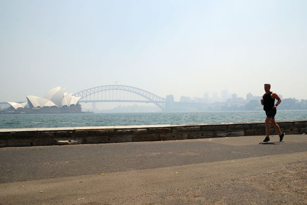 The smoke covering Sydney's Opera House and Harbour Bridge this bushfire
