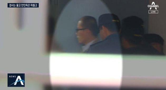 국민참여재판 재판장에 들어가는 안인득의 모습. 채널A 보도화면