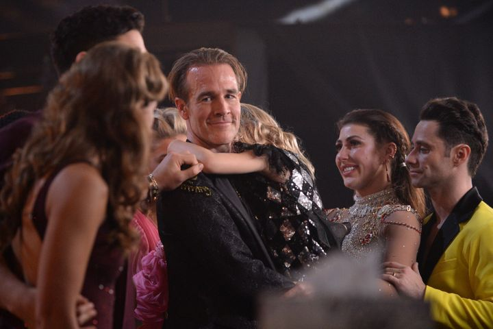 """James Van Der Beek with his partner Emma Slater (right) on """"Dancing with the Stars."""""""