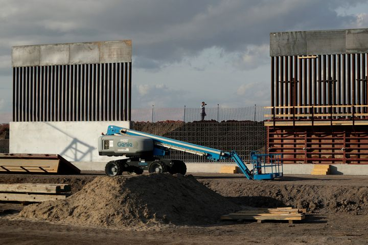 The first panels of levee border wall are seen at a construction site along the U.S.-Mexico border on Nov. 7 in Donna, Texas.