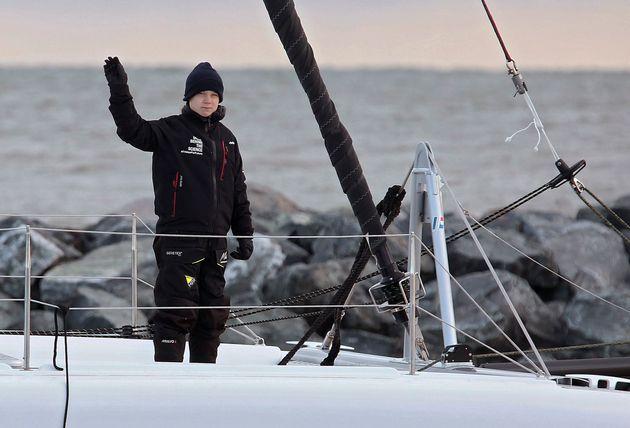 Greta Thunberg, el pasado 13 de noviembre en Virginia (EEUU), a punto de zarpar en su catamarán...