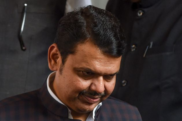 BJP leader and former Chief Minister of Maharashtra Devendra Fadnavis leaves to submit his resignation...