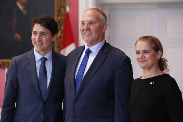 From left to right, Prime Minister Justin Trudeau, Public Safety Minister Bill Blair and Gov. Gen. Julie...