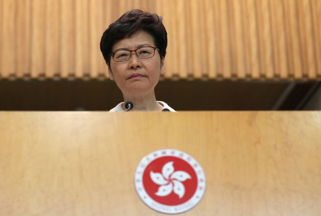 Hong Kong chief executive Carrie Lam speaks to the media in a weekly news briefing after local elections...