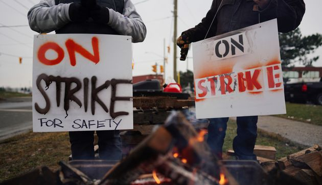 Teamsters Canada union workers picket at the CN Rail Brampton Intermodal Terminal after both parties...