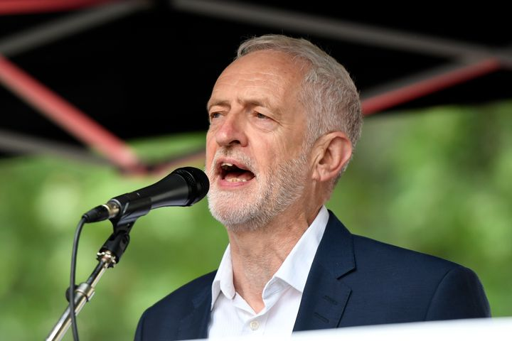 Labour leader Jeremy Corbyn speaks during the Anti-Trump protest in London.