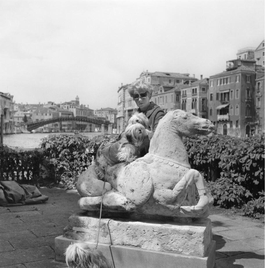 Peggy Guggenheim con i suoi terrier Lhasa Apsos sulla terrazza di Palazzo Venier dei Leoni, Venezia, fine anni '60.