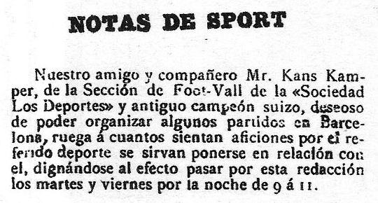 Anuncio publicado por Hans Gamper para buscar gente con la que jugar al fútbol en