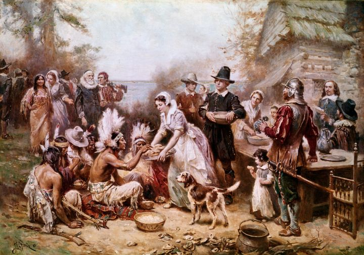 This painting by J.L.M. Ferris depicts the first Thanksgiving ceremony with Native Americans and the Pilgrims in 1621, but it doesn't tell the full story.