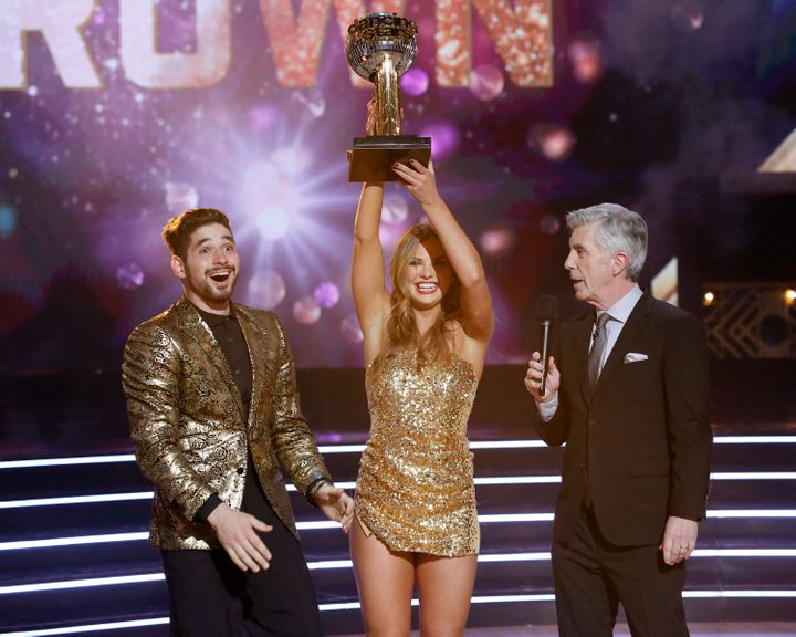 """Alan Bersten, Hannah Brown and Tom Bergeron on the finale of """"Dancing with the Stars."""""""