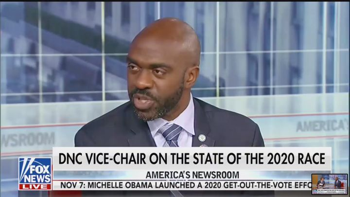 Democratic National Committee Vice Chair Michael Blake repeatedly asked why conservative Fox News host Tucker Carlson remains