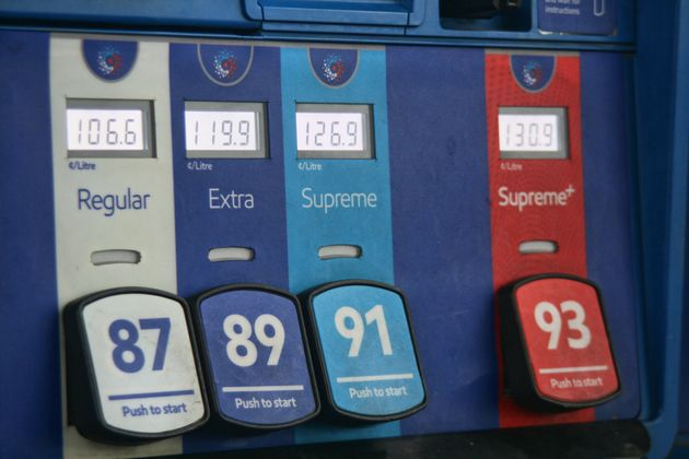 Fuel prices listed on a gas pump at a station in Maple,