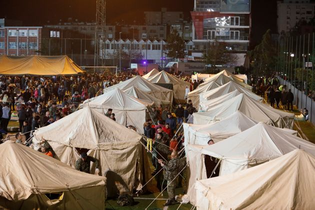 A general view of damnified at a makeshift camp in Durres, after an earthquake shook Albania, November...