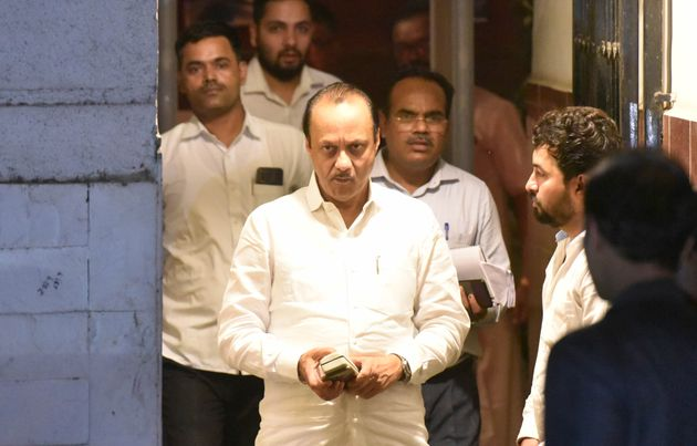 Ajit Pawar leaves his resident at Church Gate, on November 24, 2019 in