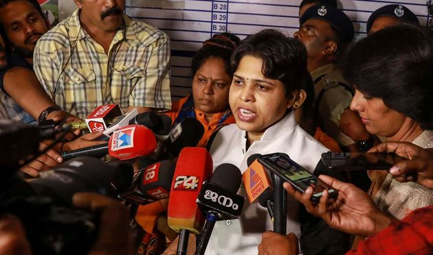 Bhumata Brigade chief and social activist for gender equality Trupti Desai along with other activists...