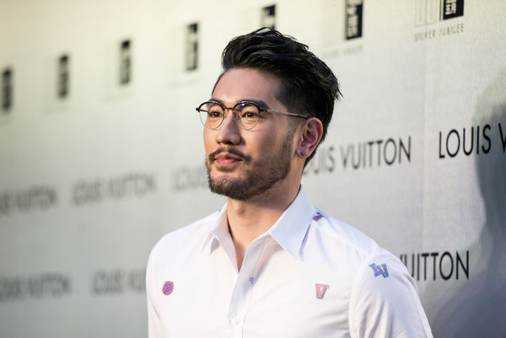 Godfrey Gao poses at the red carpet during the opening night of the Time Capsule Exhibition by Louis Vuitton April 21, 2017 in Hong Kong.