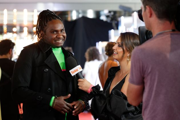 Baker Boy being interviewed by Brooke Boney for the Today