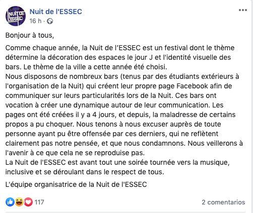 L'ESSEC condamne les intitulés racistes de ces deux soirées organisées par des