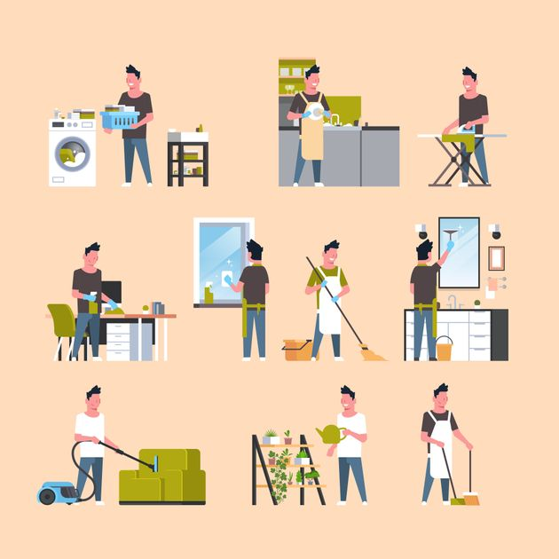 set men doing housework different housecleaning concepts collection male cartoon characters full length...