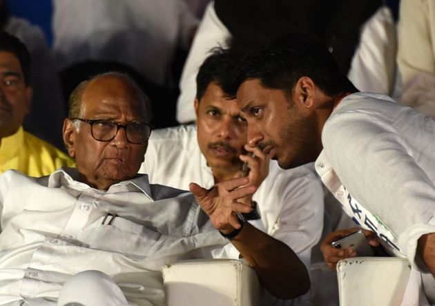 A file photo of Parth Pawar (right) with granduncle Sharad Pawar.