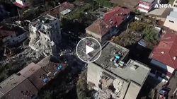 I palazzi sbriciolati dopo il sisma che ha travolto l'Albania ripresi dal drone