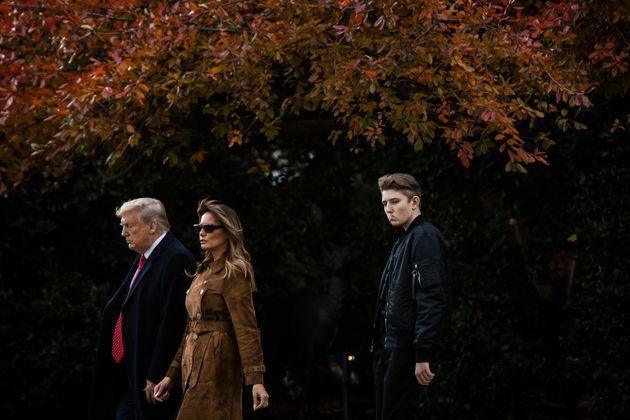 WASHINGTON, DC - NOVEMBER 26 : President Donald J. Trump, First Lady Melania Trump, and Barron Trump...