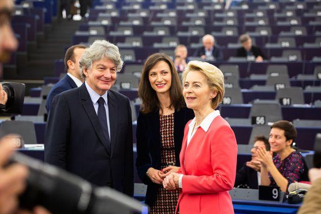 Ursula von der Leyen, Marija Gabriel et Thierry Breton au Parlement européen à Strasbourg,...