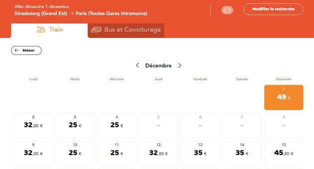 La ligne Strasbourg - Paris n'est ouverte qu'à partir du lundi 9