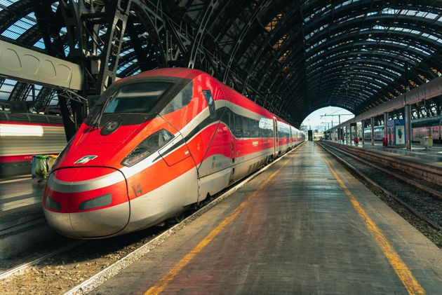Milan, Italy - August 27 2018: Italian high-speed train Trenitalia Frecciarossa stop at the Central Station...
