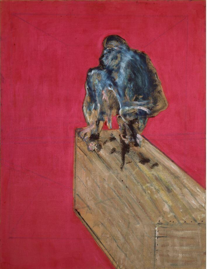 Francis Bacon<i>Studio per scimpanz&eacute;</i><i>Study for Chimpanzee</i>, marzo / March 1957Olio e pastello su tela / Oil and pastel on canvas152,4 x 117 cmCollezione Peggy Guggenheim, Venezia&nbsp;