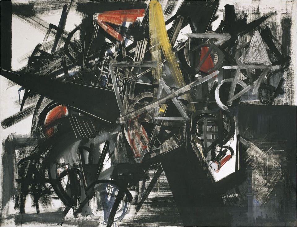 Emilio VedovaImmagine del tempo (Sbarramento)Image of Time (Barrier), 1951Tempera d'uovo su tela / Egg tempera on canvas130,5 x 170,4 cmCollezione Peggy Guggenheim, Venezia