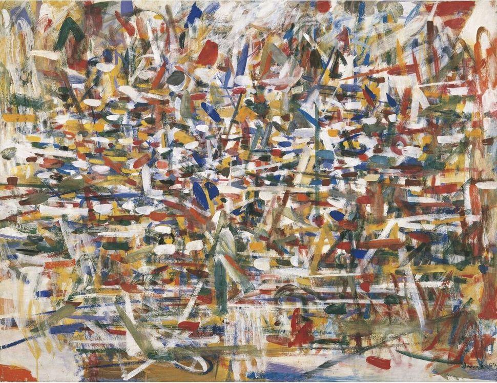 <br />Tancredi Parmeggiani<i>Composizione</i><i>Composition</i>, 1957<br />Tempera su tela / Oil on canvas130,4 x 169,4 cm