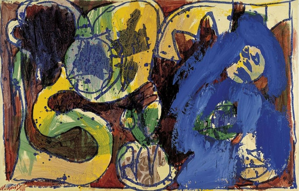 Pierre Alechinsky<i>Vestaglia</i>&nbsp;<i>Dressing Gown</i>, 1972<br />Acrilico su carta montata su tela / Acrylic on paper, mounted on canvas99,5 x 153,5 cm<br />Collezione Peggy Guggenheim, Venezia <br />