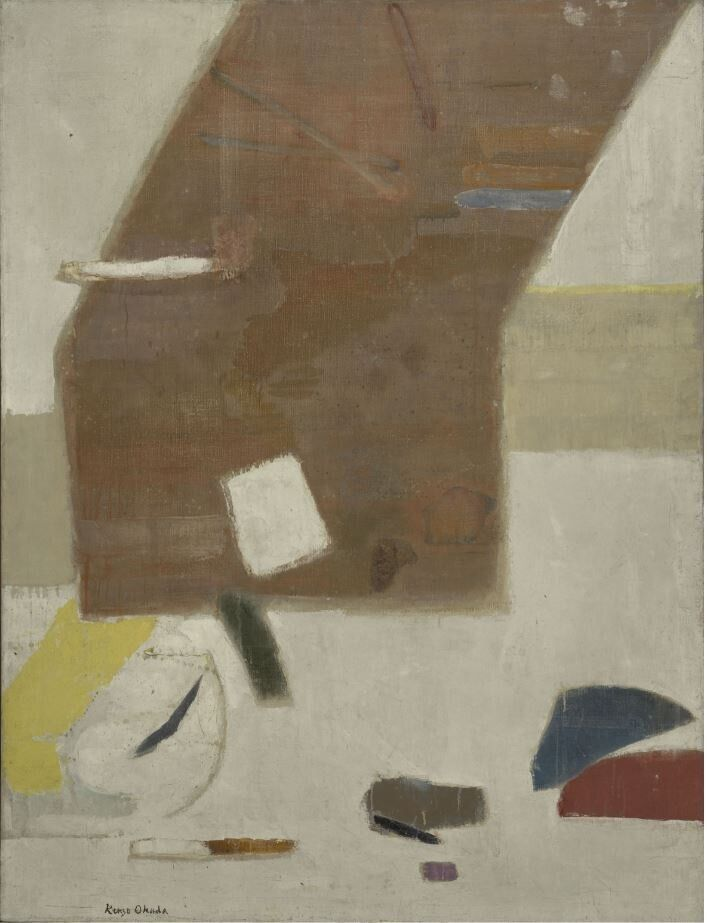 Kenzo Okada<i>Sopra il bianco</i>&nbsp;<i>Above the White</i>, 1960<br />Olio su tela / Oil on canvas127,3 x 96,7 cm