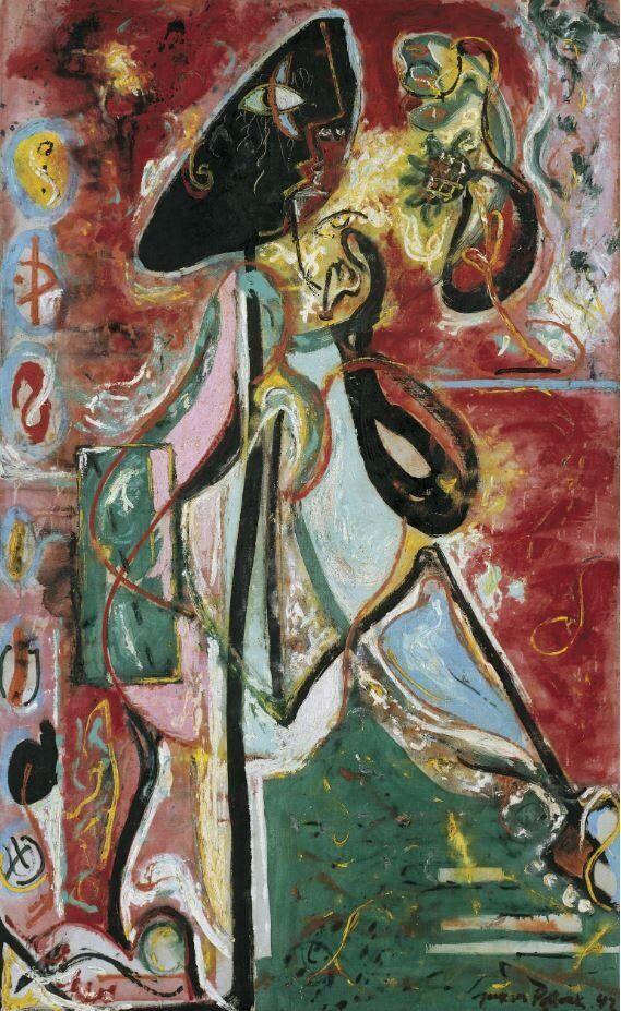 Jackson Pollock<i>La donna luna</i>&nbsp;<i>The Moon Woman</i>, 1942<br />Olio su tela / Oil on canvas175,2 x 109,3 cm<br />Collezione Peggy Guggenheim, Venezia&nbsp;