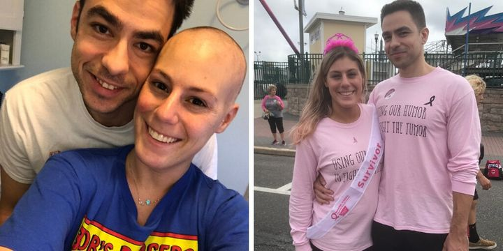 Jillian Hanson and Max Allegretti during Hanson's chemo treatment and after, at a breast cancer fundraiser walk.