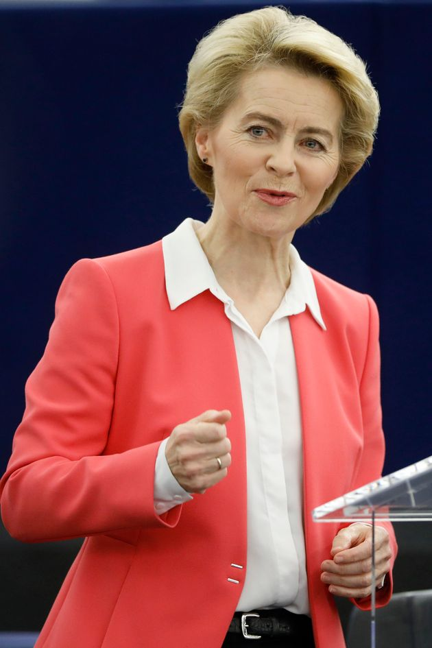European Commission President Ursula von der Leyen delivers her speech at the European Parliament Wednesday,...