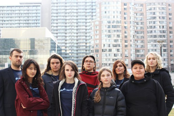 The group behind the lawsuit demanding more action from Premier Doug Ford's government are pictured in Toronto, Nov. 28, 2019. From left to right: Ecojustice lawyer Fraser Thompson, applicants Sophia Mathur, Madison Dyck, Alex Neufeldt, Shelby Gagnon, Zoe Keary-Matzner, Shaelyn Wabegijig, Beze Gray, and Ecojustice lawyer Danielle Gallant.