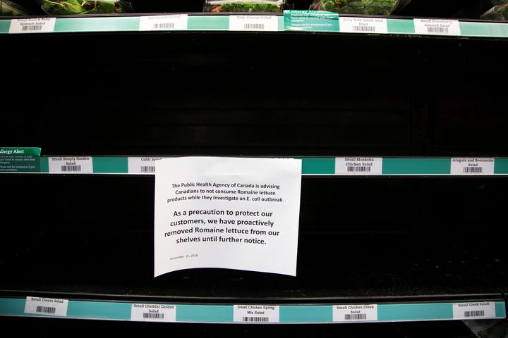 Romaine lettuce was taken off the shelf at stores in Canada last November amid a similar E. coli outbreak that also impacted