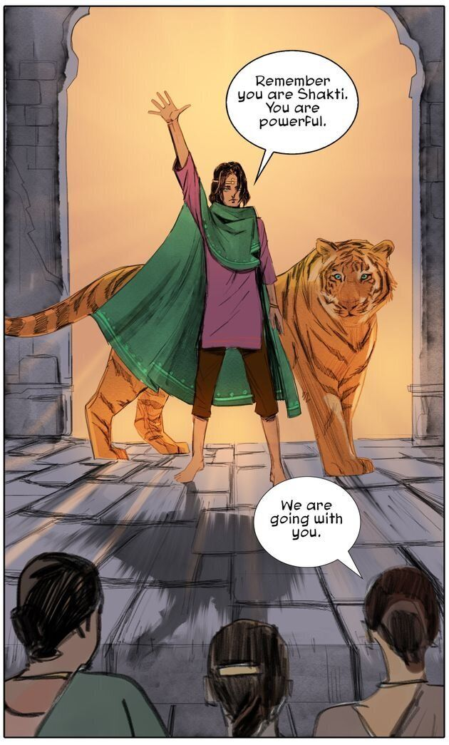 "A panel from ""Priya and The Lost Girls."""