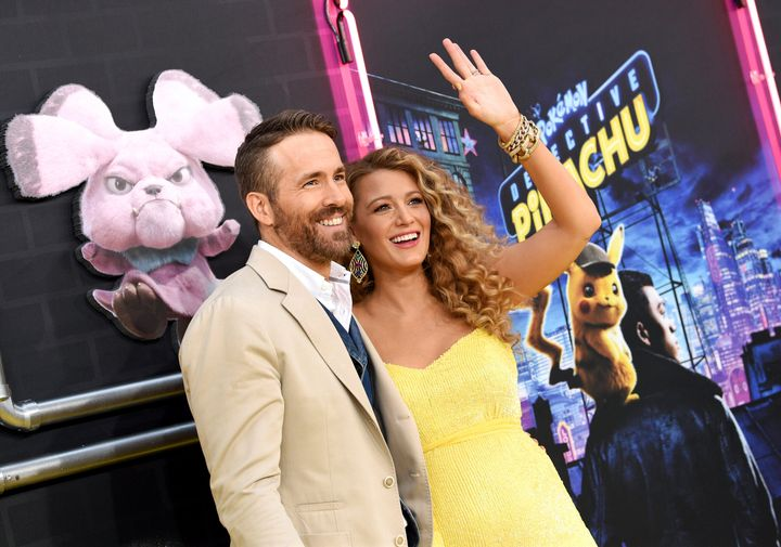 """Ryan Reynolds and Blake Lively at the premiere of """"Pokemon: Detective Pikachu"""" in New York in May."""