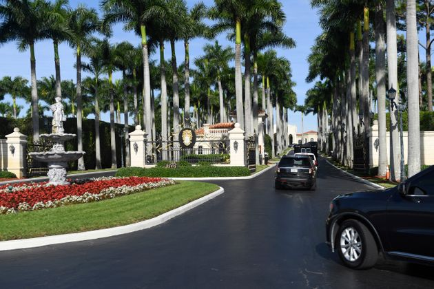 The US president's motorcade arrives at Trump International Golf Club in West Palm Beach, Florida, on...