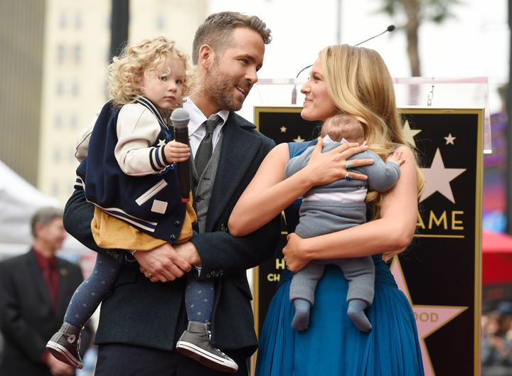 Ryan Reynolds and BlakeLively with their daughters James, left and Inez during Reynolds' Hollywood Walk of Fame ceremony in Dec. 2016.