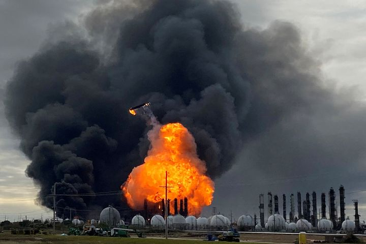 A process tower flies through the air after an explosion at the TPC Group Petrochemical Plant in Port Neches, Texas, on Nov.