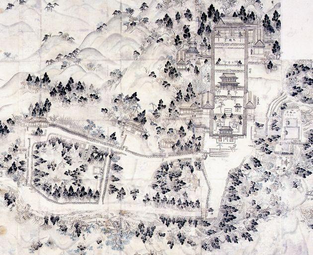 1600年代の古地図は開祖・道元が上山した参道の道筋を描き出している。