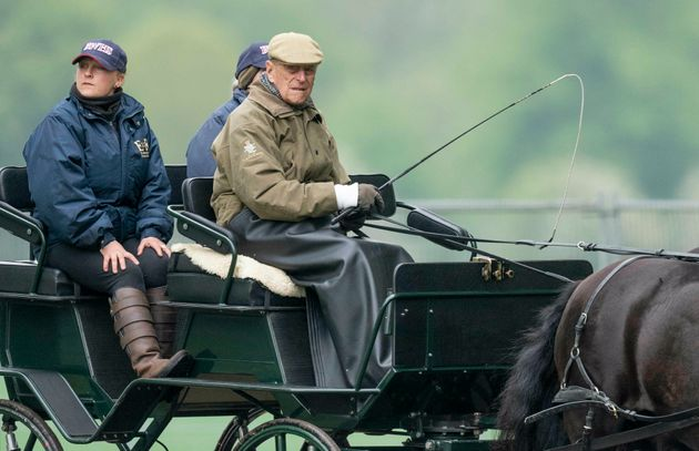 Prince Philip and Sophie, Countess of Wessex watch Lady Louise Windsor compete in the Private Driving...