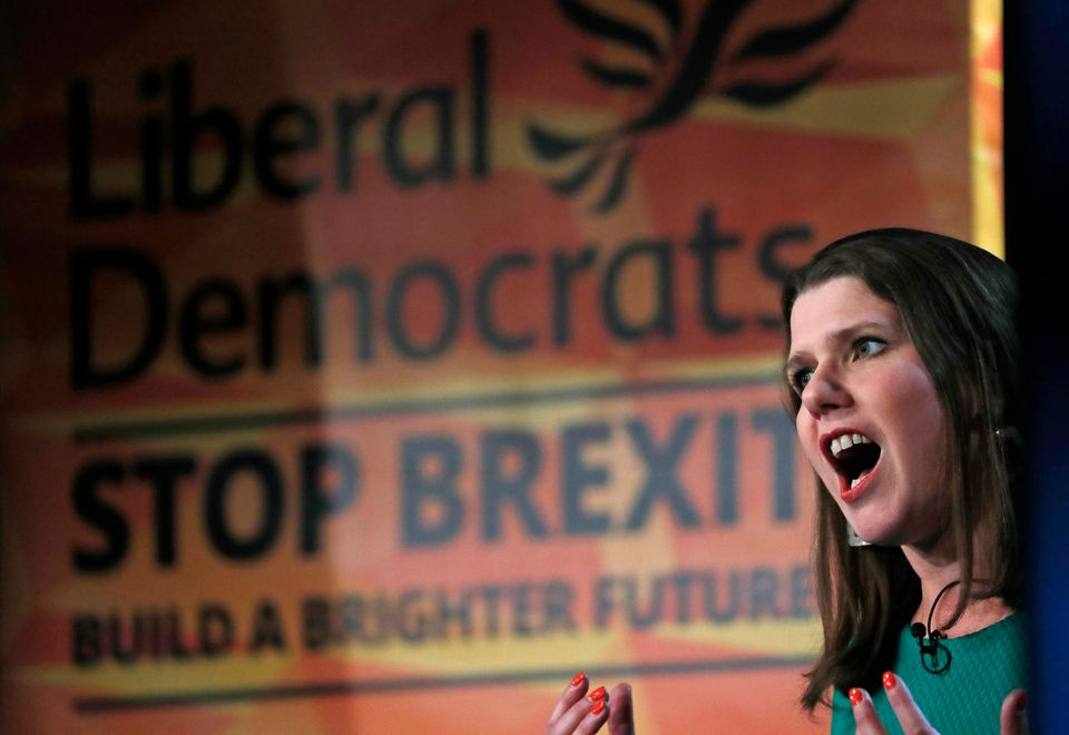 Liberal Democrat leader Jo Swinson speaks on stage at the launch of her party's general election manifesto...