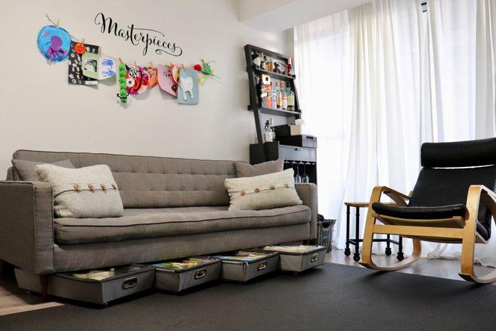 Slim organizers fit into storage spaces beneath most furniture.